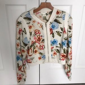Light Floral Bomber